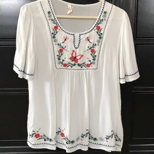 My Beloved smocked short sleeve blouse Sz S